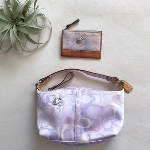 Coach purple signature handbag and coin purse 7440